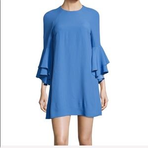 Alexis Blue Bell Sleeve Ruffle Mini Dress L